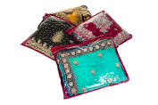 Pack of 10 Premium Maroon Saree Storage Bags with Zip Closing and Clear Viewing Window - Protect and Safeguard Delicate and Precious Fabrics, Clothes, Garments, Traditional Indian Sari and More
