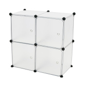 Cablematic - Modular shelving closet storage organising 4 plastic cube 35x35cm white with doors