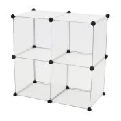 Cablematic - Modular shelving closet storage organising 4 plastic cube 35x35cm white