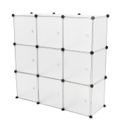 Cablematic - Modular shelving closet storage organising 9 plastic cube 35x35cm white with doors