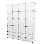 Cablematic - Modular shelving closet storage organising 24 plastic cube 35x35cm 17x35cm white with doors