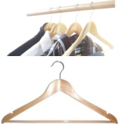 Pack of 12 Wooden Coat Hangers with Trouser Bar and Skirt Brand