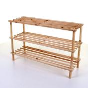 Marko Homewares 3 4 Tier Slatted Shoe Rack Wooden Storage Stand Organiser Pine Walnut Shelf Unit
