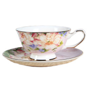 European Bone China Flower Printing Afternoon Coffee Cup Tea Cup And Saucer,Pink