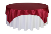 Your Chair Covers - 230cm x 230cm Square Satin Table Overlays Dark Red, Square Satin Table Cloths