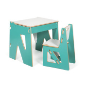 Blue Modern Kids Desk and Chair with Storage, American Made