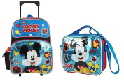 Disney Mickey Mouse Blue 41cm Large Rolling Backpack With Lunch Bag Set