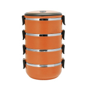 3/4 Layer Stainless Steel Thermal Insulated Lunch Box Bento Food Container Round