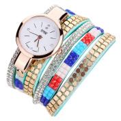 Sunbona Women Girls Fashion Bling Rhinestone Wide Cable Leather Bracelet Analogue Quartz Wrist Watches