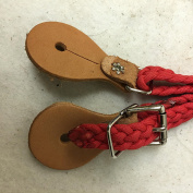 109 - SPUR STRAPS- BRAIDED NYLON CORD. 1.6cm x 25cm with LEATHER ENDS