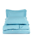 Lacoste Brushed Twill Solid Stillwater Twin Duvet Cover Set