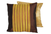 Cozymomo One Pair Golden Brown Stripe Throw Pillow Cover Decorative Sofa Couch Cushion Cover Zipper 16 x 16 Inchs