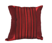 Cozymomo Maroon Red Stripe Throw Pillow Cover Decorative Sofa Couch Cushion Cover Zipper 16 x 16 Inchs