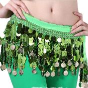 ESHOO Women Multi Colours Chiffon Belly Dance Hip Scarf Ruffled Coin Belt Skirt Hip Wrap