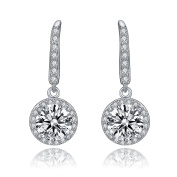 Cubic Zirconia Sterling Silver Round Drop Euro Earrings