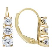 14K Solid Gold Round Cut Leverback Dangle 3-Stone Cubic Zirconia Earrings (1.90 ctw, Diamond Equivalent), Velvet Gift Box
