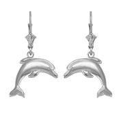 Jumping Dolphin Dangle Earrings in High Polish 14k White Gold