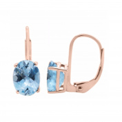1.80 Ct.Ttw 8x6MM Oval Aquamarine Leverback Earrings In 14K Rose Gold