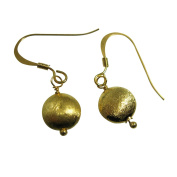 18K Gold plated 925 Sterling Silver Earrings- Silver Textured Coin Earrings - One Pair