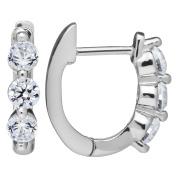 "14K Solid Gold Round Cut ""Huggie"" Hoop 3-Stone Cubic Zirconia Earrings (.48 ctw, Diamond Equivalent), Velvet Gift Box"