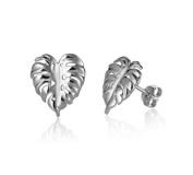 Sterling Silver Monstera Leaf Stud Earrings