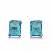 CORTINA jewellery - Blue Helenite Rectangle Stud Earrings - 2.4 CT Total, Claw Set in 925 Sterling Silver Post