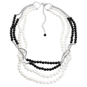 Honora 4-Strand Freshwater Cultured Pearl & Onyx Bead Necklace in Sterling Silver