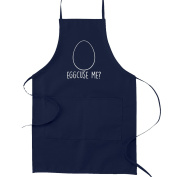 Eggcuse Me Pun Funny Parody Cooking Baking Kitchen Apron - Navy Blue