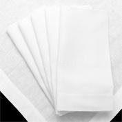 12 Pack - CleverDelights White Linen Dinner Napkins - 50cm x 50cm - 100% Pure Linen - Cloth Dinner Napkins