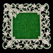 White Butterfly on Green Doily 30cm Square