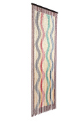 catral 71060017 - Wood Curtain Waves L60, 200 x 90 cm, Colour Red, Green and Blue