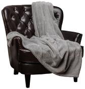 Chanasya Super Soft Fluffy Warm Elegant Cosy and Decorative Velvet Fleece Grey Throw Blanket - Round Popcorn Texture Silver Grey