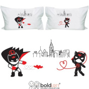 BOLDLOFT We're Irresistibly Attracted His and Hers Pillowcases- Couples Gifts,Fun Gifts for Couples,Batman Gifts for Men,Valentines Day Gifts for Him,Boyfriend Gifts,Husband Gifts,His and Hers Gifts