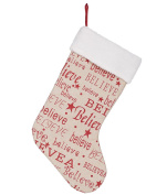 Believe 47cm Burlap Christmas Stocking with Sherpa Cuff Decoration