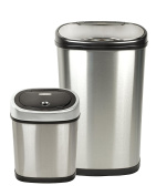 Nine Stars CB-DZT-50-13/12-9 Stainless Steel 2-in-1 Infrared Touchless Automatic Motion Sensor Lid Open Trash Cans Combo, 13.2/ 12.1l