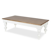 Kate and Laurel Sophia Rustic Wood Top Two Toned Wood Coffee Table, White Base