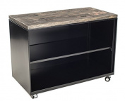 Urban9-5 Metal Shelves with Reclaimed Wood Top & Ebony Stain, Black