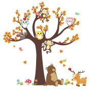 Winhappyhome DIY Animals Tree Wall Art Stickers for Kids Room Nursery Background Removable Decor Decals