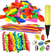 Joyin Toy 180 Pieces Party Balloons Assorted Colour Latex Balloons 3 Style with Hand Held Air Inflator and 8 colours of Crimped Curling Ribbons
