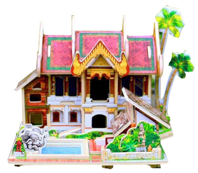 [Thailand Resort Hotel] 3D Puzzle Paper Model Assembled Cabin House Toy Diy