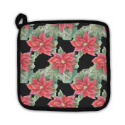 Gear New 1540052-GN-PH1 Red Poinsettia Pattern Pot Holder