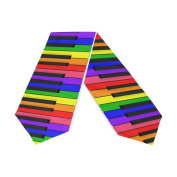 ABLINK Piano Colour Keyboard Musical Instrument Rainbow Polyester Table Runner 33cm x 180cm Long Table Top Decoration