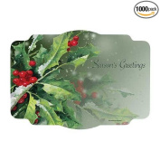 Hoffmaster Holly Greetings Paper Placemat, 25cm x 36cm -- 1000 per case.