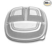 Forum Polystyrene Clear 3 Compartment Dome Lid Only, 10.24 x 26cm x 4.9cm -- 200 per case.