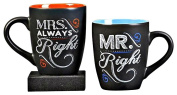 ChalkTalk Coffee Mug Set, 330mls Each. Mr. Right and Mrs. Always Right. Set of 2