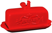 Home Essentials Home Essentials 18cm l Red Butter Dish W/finial, , Red
