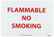 """NMC M702R Fire Sign, Legend """"FLAMMABLE NO SMOKING"""", 25cm Length x 18cm Height, Rigid Polystyrene Plastic, Red on White"""