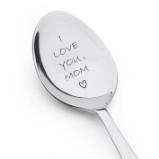 I Love You Mom Spoon - Customised Gift Unique Birthday, Valentine's Day Gifts for Her, Him, Mom Dad - High Quality Engraved Spoon - Spoon Gift #A35