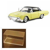 Diecast Car & Accessory Package - 1962 Ford Thunderbird Sport Roadster Soft Top, Yellow - Arko 06201 - 1/32 Scale Diecast Model Toy Car w/display case