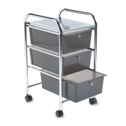New - Portable Drawer Organiser, 15-1/2w x 13d x 27h, Chrome/Smoke by Read Right